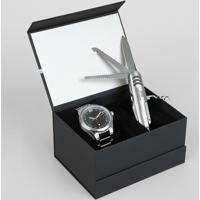Kit De Relógio Analógico Orient Masculino + Canivete - Mbss1298 K253G2Sx Prateado