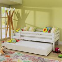 Bicama Infantil Prime Com Grade De Proteção - Madeira Maciça - Laca Branco