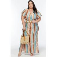 Vestido Plus Size Estampado Com Faixa