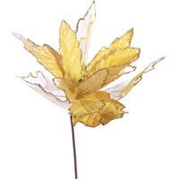 Flor Natalina Decorativa- Amarelo Claro & Dourada- 8Mabruk