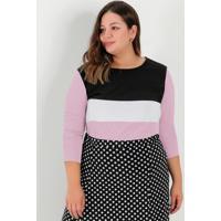 Blusa Rosa Com Recortes Na Frente Plus Size