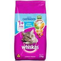 Ração Para Gatos Castrados Whiskas Adultos 1+ Anos Sabor Peixe 3Kg
