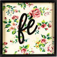 "Quadro Floral ""Fã©""- Preto & Rosa- 30X30Cm- Art Fart Frame"