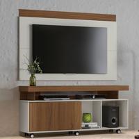 Rack Com Painel Para Tv Até 60 Polegadas Aracajú Off White E Nogueira 150 Cm