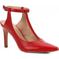 Scarpin Couro Shoestock Salto Alto Tira - Feminino-Vermelho