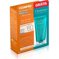 Kit Avene Protetor Solar Facial Mat Perfect Sem Cor Fps60 50Ml + Gel De Limpeza Cleanance 60Ml
