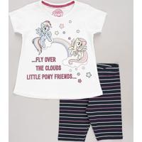 Conjunto Infantil My Little Pony De Blusa Manga Curta Off White + Bermuda Listrada Azul Marinho