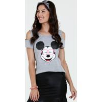 Blusa Juvenil Open Shoulder Mickey Disney
