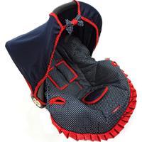 Capa Para Bebê Conforto Poá Alan Pierre Baby 0 A 13 Kg Azul Marinho Com Vermelho