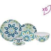 Aparelho De Jantar Hagan- Bege Claro & Azul- 30Pçs