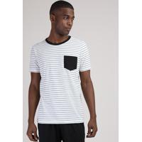 Pijama Masculino Camiseta Estampada Listrada Com Bolso Manga Curta Gola Careca Off White