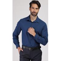 Camisa Social Masculina Comfort Listrada Com Bolso Manga Longa Azul Marinho