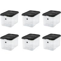 Kit Com 6 Caixas Organizadoras Plus Preto 40 L