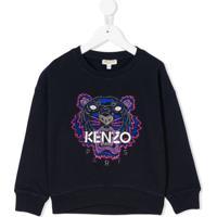 Kenzo Kids Moletom Com Bordado - Azul