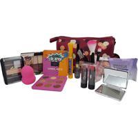 Kit Maquiagem Completa E Necessaire Ruby Rose Colorida