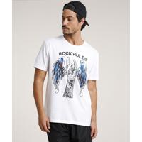 "Camiseta Masculina ""Rock Rules"" Manga Curta Gola Careca Branca"