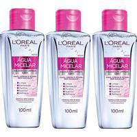 Kit L'Oréal Paris 3 Águas Micelar Solução De Limpeza Facial 5 Em 1 100Ml - Feminino-Incolor