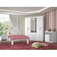 Dormitório Completo Santos Andirá Star Com Guarda-Roupa Cama E Cômoda - Branco Com Opção De Rosa Fúcsia (Sistema Flex Color)