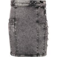 Balmain Minissaia Jeans Com Botões Decorativos - Preto