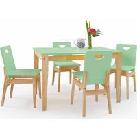 Sala De Jantar Com Mesa E 4 Cadeiras Tucupi 120Cm - Acabamento Stain Natural E Verde Sálvia