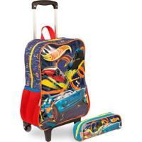 Kit Hot Wheels 19M Infantil Sestini - Mochilete + Estojo - Masculino-Azul