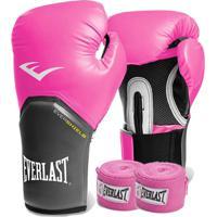 Kit Boxe Everlast - Luva Rosa 08Oz + Bandagem Rosa
