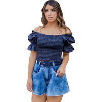 Blusa Cropped Atelie Kr Jeans De Lastex Azul.