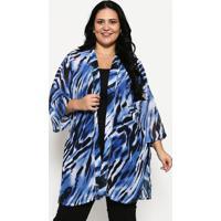 Kimono Com Fendas- Azul & Preto- Luktalluktal