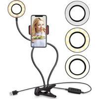 Luminária Abajur Youtuber Ring Light Suporte Celular Selfie - Unissex-Preto