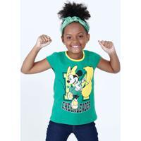Blusa Infantil Estampa Minnie Brasil Manga Curta Disney