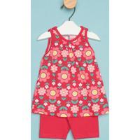 Conjunto De Blusa Floral + Short- Vermelha & Rosakyly