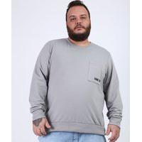 "Blusão De Moletom Masculino Plus Size Com Bolso Game On"" Gola Careca Cinza"""