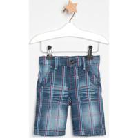 Bermuda Jeans Xadrez- Azul Escuro & Vermelha- Look Jlook Jeans