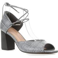 Sandália Couro Shoestock Salto Bloco Croco Feminina - Feminino-Cinza