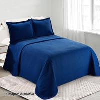 Conjunto De Colcha Loft Casal- Azul Escuro- 3Pçscamesa