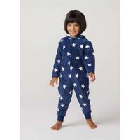 Macacão Infantil Unissex Em Fleece Azul