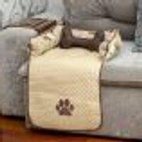 Protetor De Sofá Pet Cachorro Ou Gato Avelã Impermeável 45Cm X 88Cm X 15Cm + Almofada Ossinho