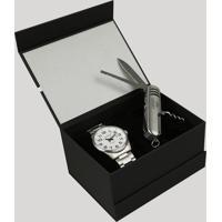 Kit De Relógio Analógico Orient Masculino + Canivete - Mbss1271 Kb97S2Sx Prateado - Único