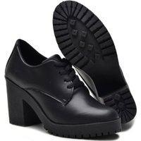 Sapato Oxford Feminino Sw Shoes Salto Alto Preto Fosco