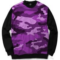 Blusa Bsc Camo Purple Full Print - Masculino-Preto