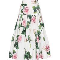 Dolce & Gabbana Saia Com Amarração E Estampa Floral - Branco