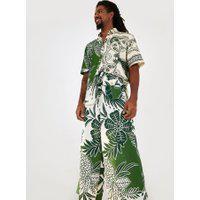 Calça Pantalona Estampada Vento Tropical