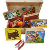Baú De Brinquedos Jott Play Com 12 Jogos Em Madeira Colorido