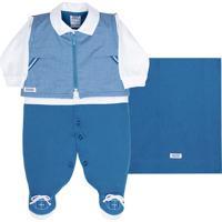 Saída De Maternidade Sonho Mágico Malha Authentic Azul Fuji