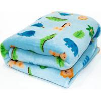 Manta Microfibra Confort Baby Hazime Zoo Azul - Azul - Dafiti