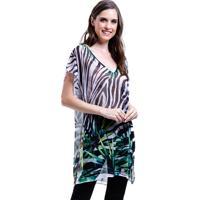 Blusa 101 Resort Wear Tunica Decote V Crepe Fendas Estampada Zebra Folhas Verde Branco