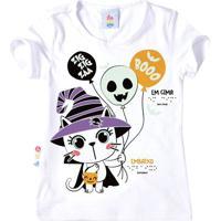 Blusa Gatinha Halloween - Branca & Preta - Kidszig Zig Zaa