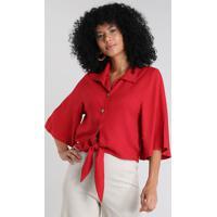 Camisa Feminina Ampla Com Linho E Amarração Manga Curta Vermelha