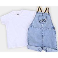 Macacão Jeans Bebê Hering + Camiseta Básica Masculino - Masculino-Jeans