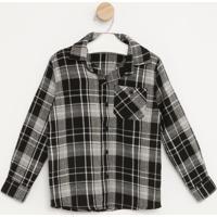 Camisa Flanelada Xadrez- Preta & Branca- Pequena Manpequena Mania